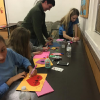 Confirmation students making Valentines for homebound